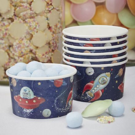 Space Adventure Party Ice Cream Treat Tubs - pack of 8
